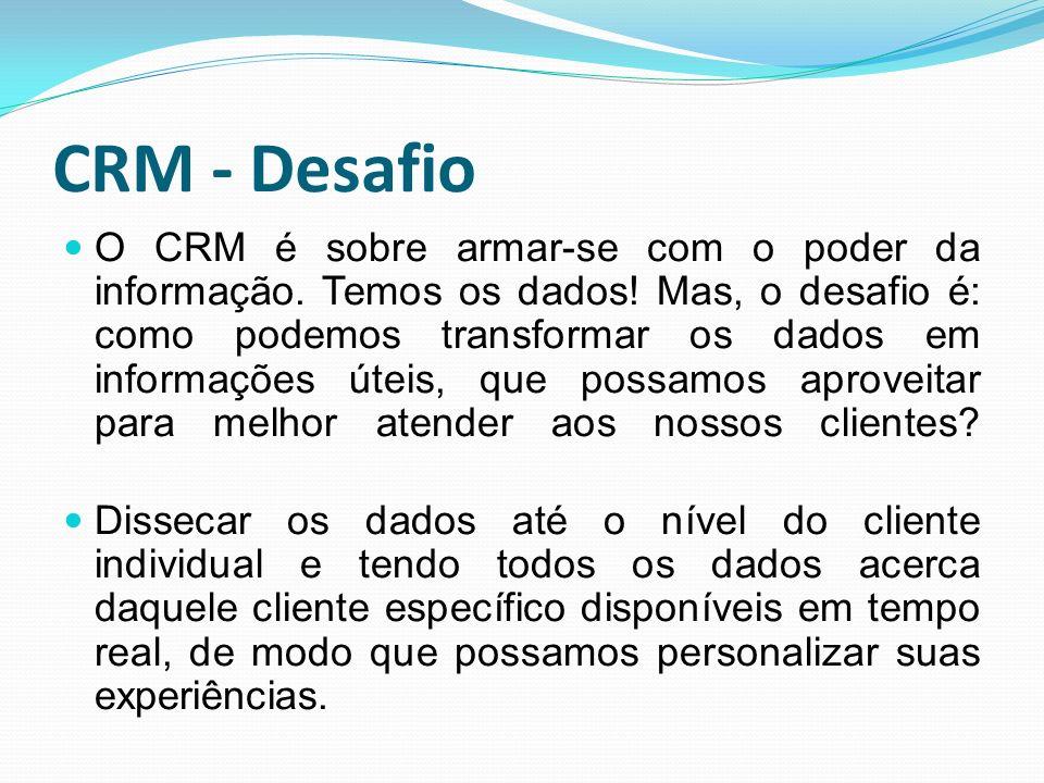 CRM - Desafio O CRM é sobre armar-se com o poder da informação. Temos os dados! Mas, o desafio é: como podemos transformar os dados em informações úte