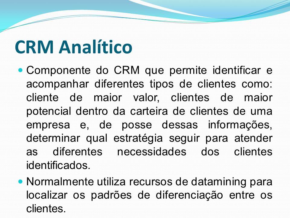 CRM Analítico Componente do CRM que permite identificar e acompanhar diferentes tipos de clientes como: cliente de maior valor, clientes de maior pote