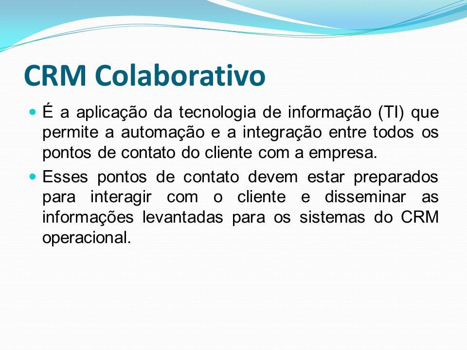 CRM Colaborativo É a aplicação da tecnologia de informação (TI) que permite a automação e a integração entre todos os pontos de contato do cliente com