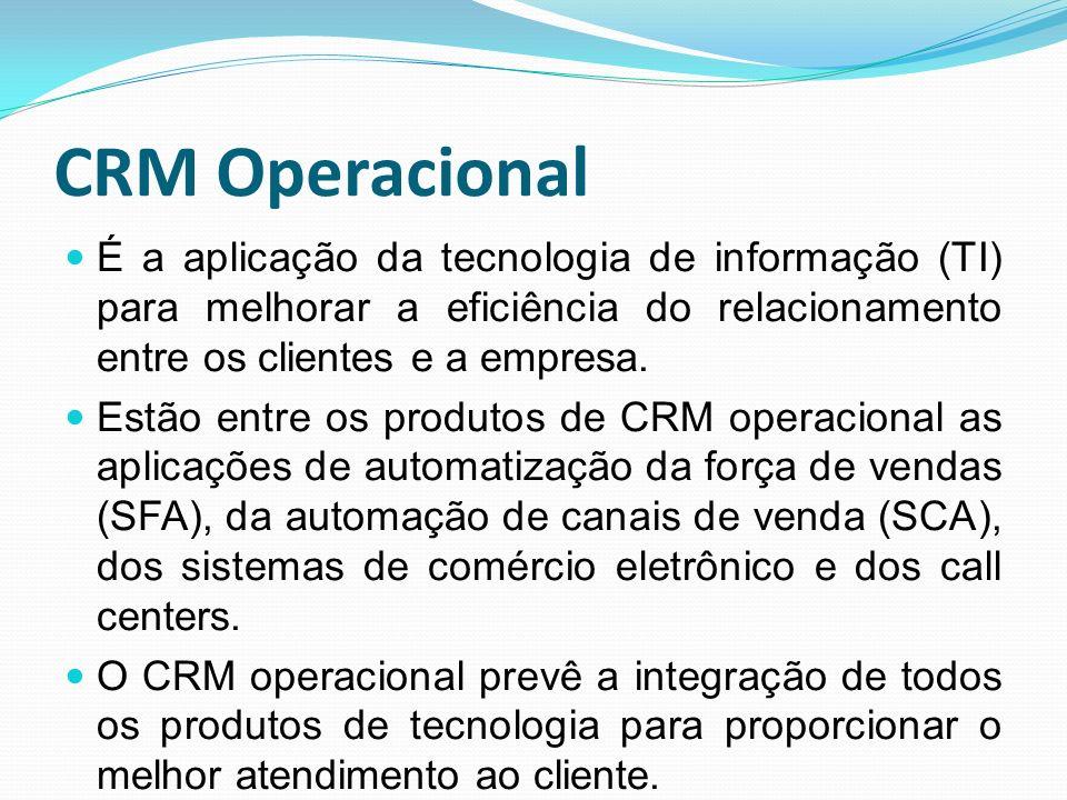 CRM Operacional É a aplicação da tecnologia de informação (TI) para melhorar a eficiência do relacionamento entre os clientes e a empresa. Estão entre