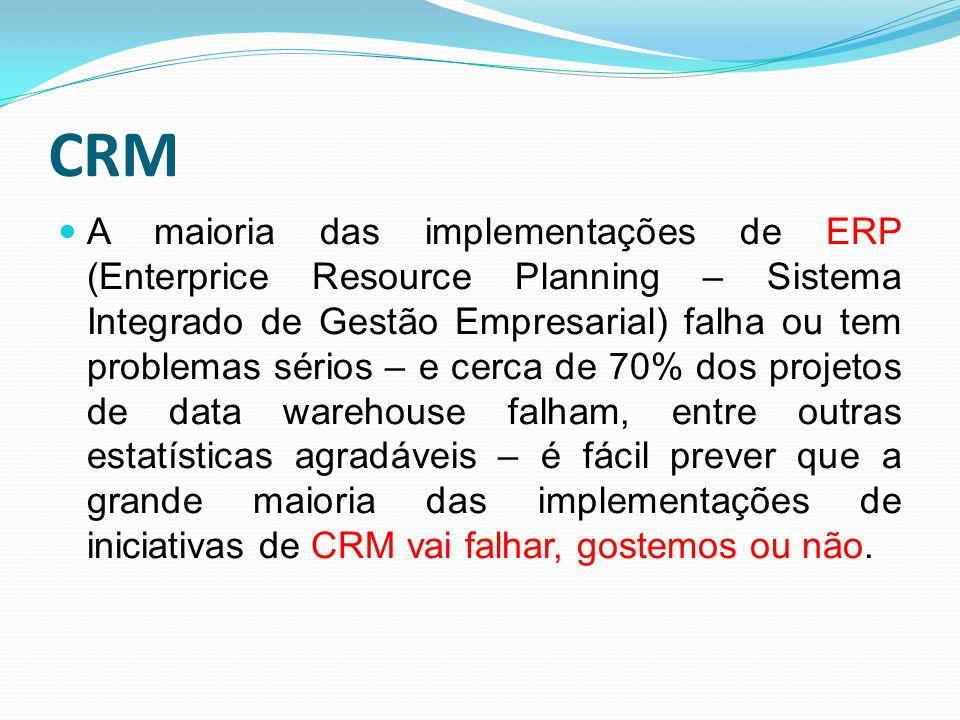 CRM A maioria das implementações de ERP (Enterprice Resource Planning – Sistema Integrado de Gestão Empresarial) falha ou tem problemas sérios – e cer