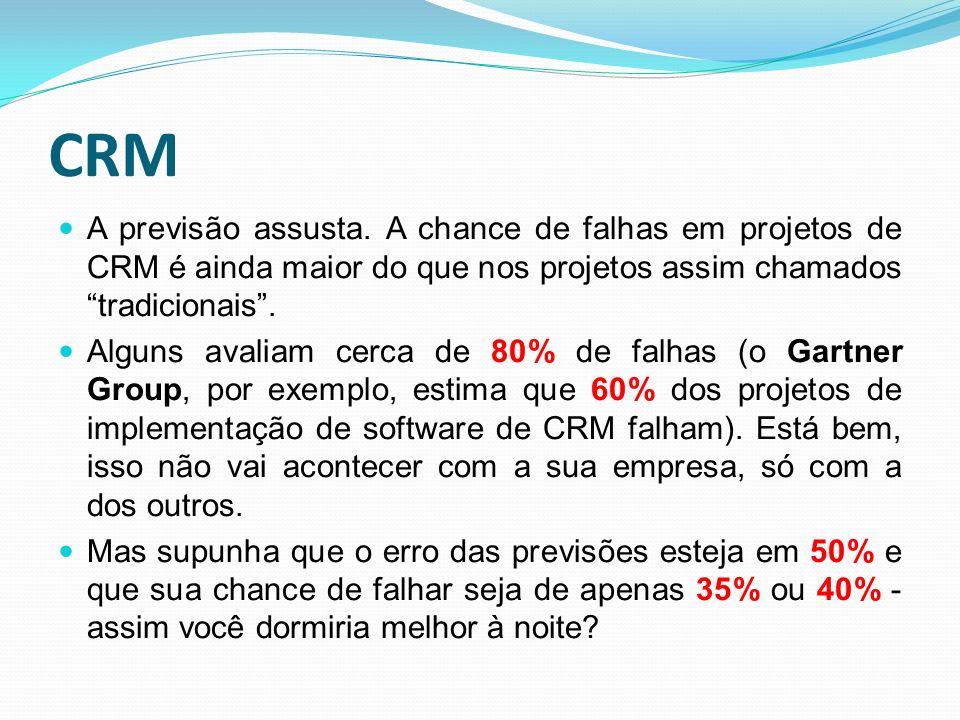 CRM A previsão assusta. A chance de falhas em projetos de CRM é ainda maior do que nos projetos assim chamados tradicionais. Alguns avaliam cerca de 8