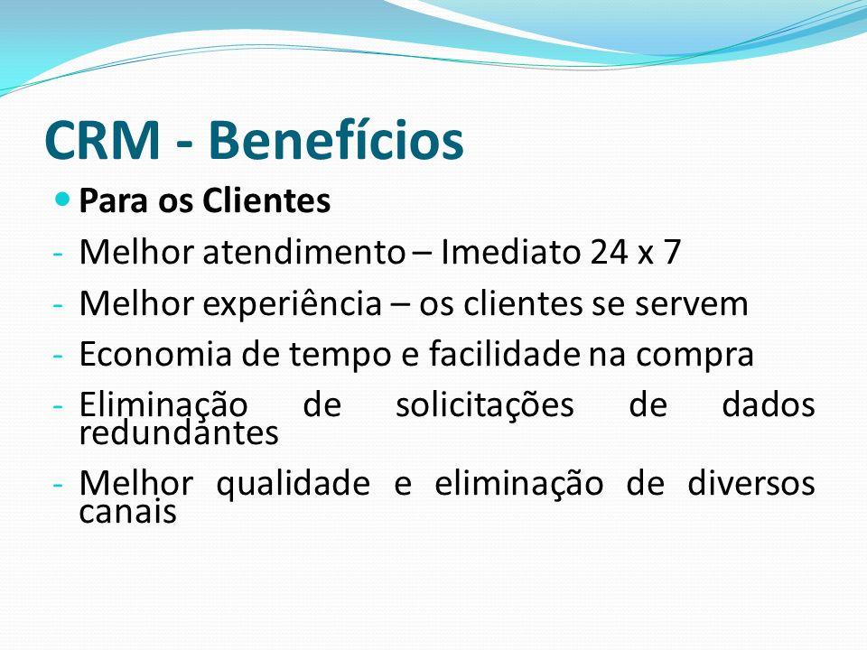 CRM - Benefícios Para os Clientes - Melhor atendimento – Imediato 24 x 7 - Melhor experiência – os clientes se servem - Economia de tempo e facilidade
