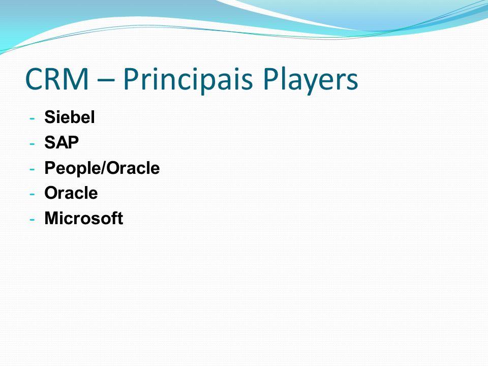 CRM – Principais Players - Siebel - SAP - People/Oracle - Oracle - Microsoft