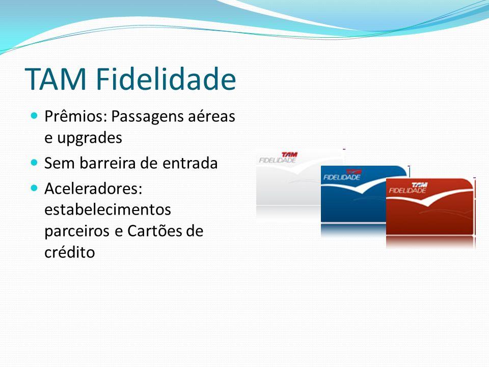 TAM Fidelidade Prêmios: Passagens aéreas e upgrades Sem barreira de entrada Aceleradores: estabelecimentos parceiros e Cartões de crédito