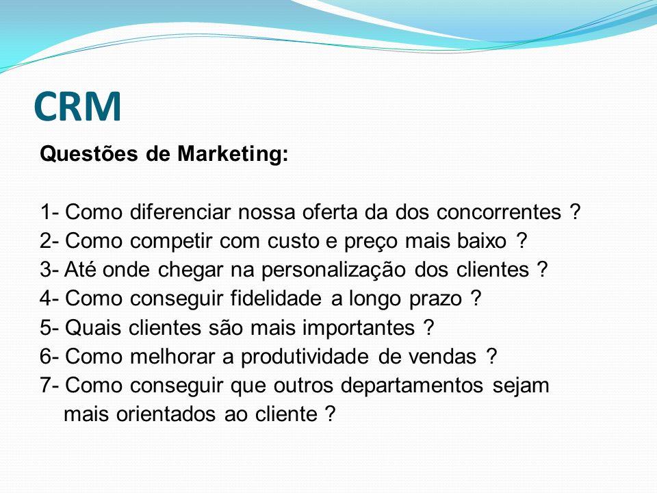CRM Questões de Marketing: 1- Como diferenciar nossa oferta da dos concorrentes ? 2- Como competir com custo e preço mais baixo ? 3- Até onde chegar n