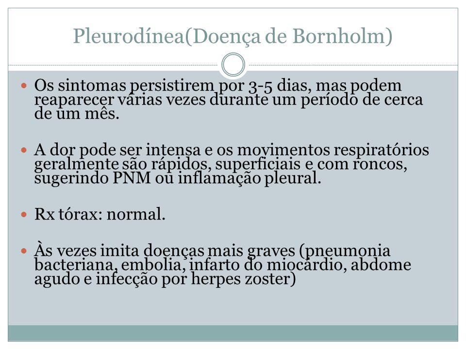 Pleurodínea(Doença de Bornholm) Os sintomas persistirem por 3-5 dias, mas podem reaparecer várias vezes durante um período de cerca de um mês. A dor p