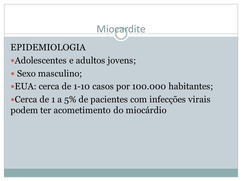Miocardite EPIDEMIOLOGIA Adolescentes e adultos jovens; Sexo masculino; EUA: cerca de 1-10 casos por 100.000 habitantes; Cerca de 1 a 5% de pacientes