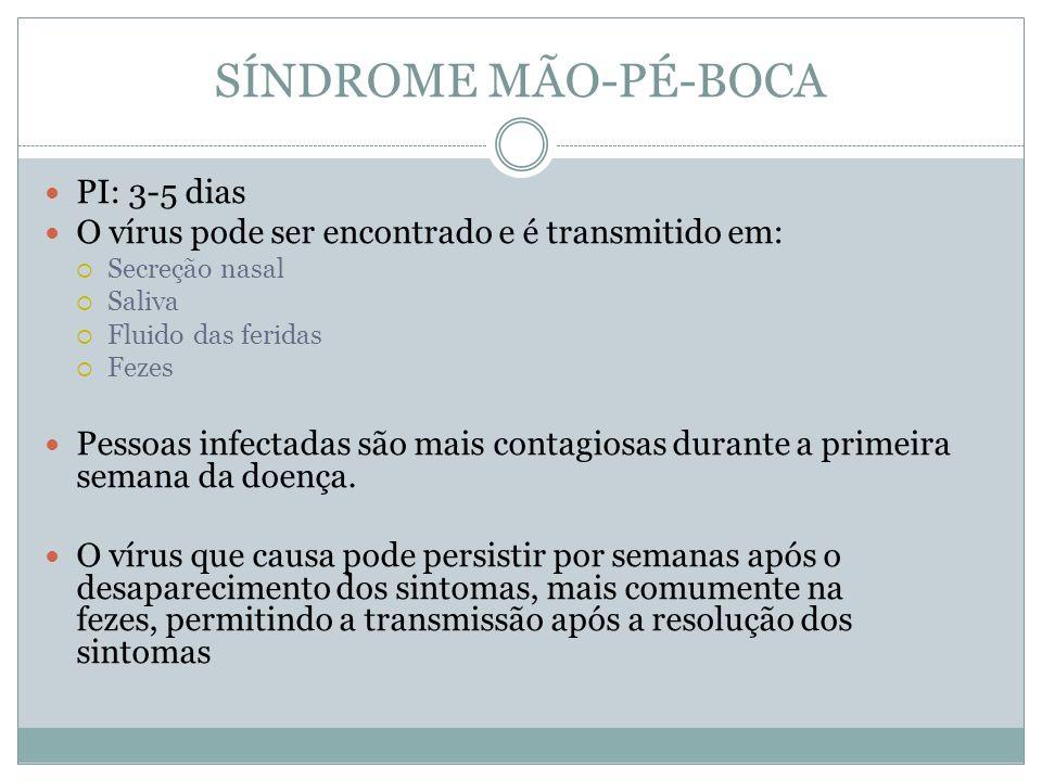 SÍNDROME MÃO-PÉ-BOCA Tratamento: Sintomáticos **NÃO UTILIZAR ASPIRINA (Sd.
