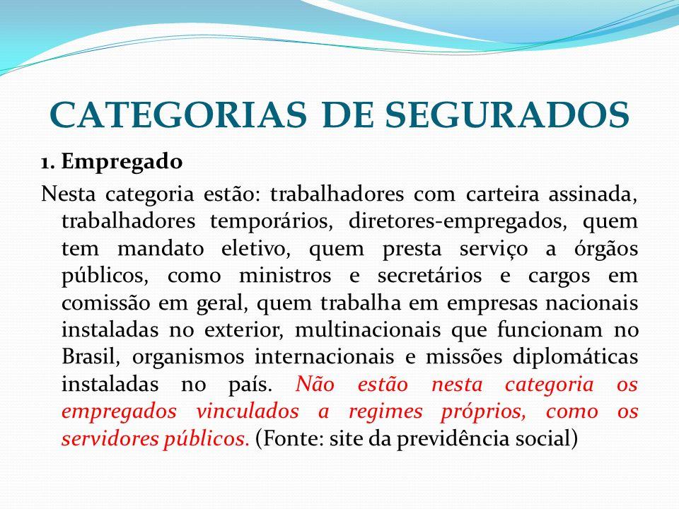 CATEGORIAS DE SEGURADOS 1. Empregado Nesta categoria estão: trabalhadores com carteira assinada, trabalhadores temporários, diretores-empregados, quem