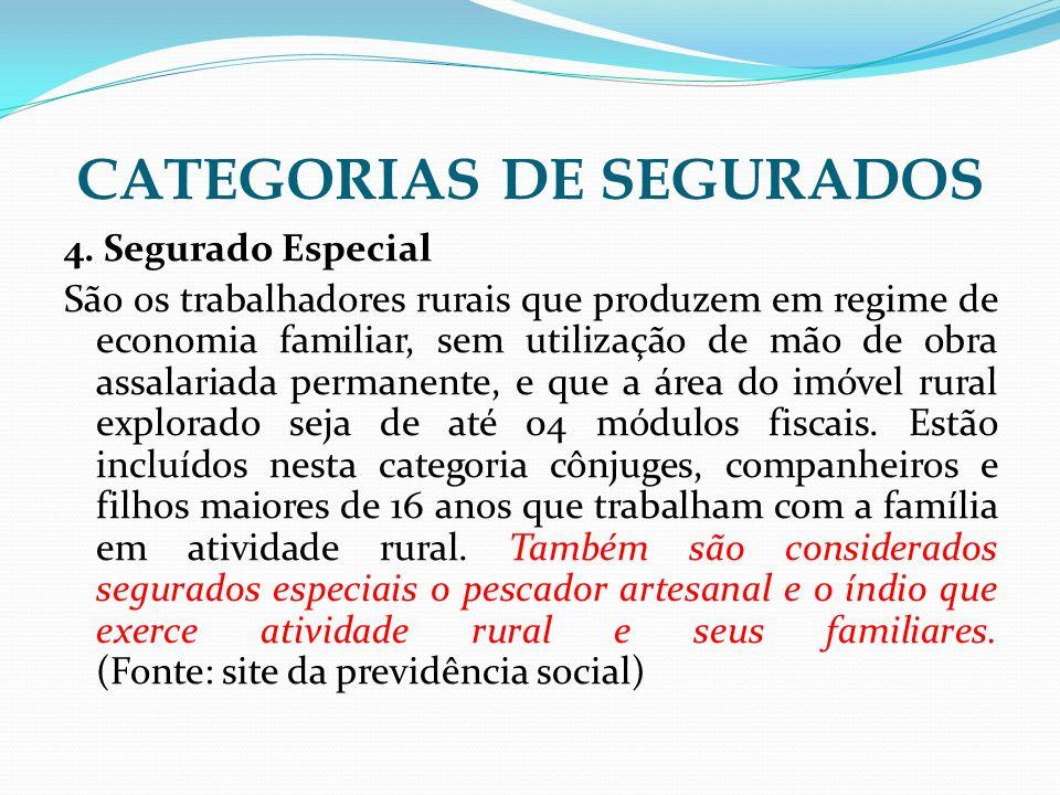 CATEGORIAS DE SEGURADOS 4. Segurado Especial São os trabalhadores rurais que produzem em regime de economia familiar, sem utilização de mão de obra as