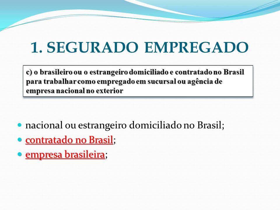 1. SEGURADO EMPREGADO nacional ou estrangeiro domiciliado no Brasil; contratado no Brasil contratado no Brasil; empresa brasileira empresa brasileira;