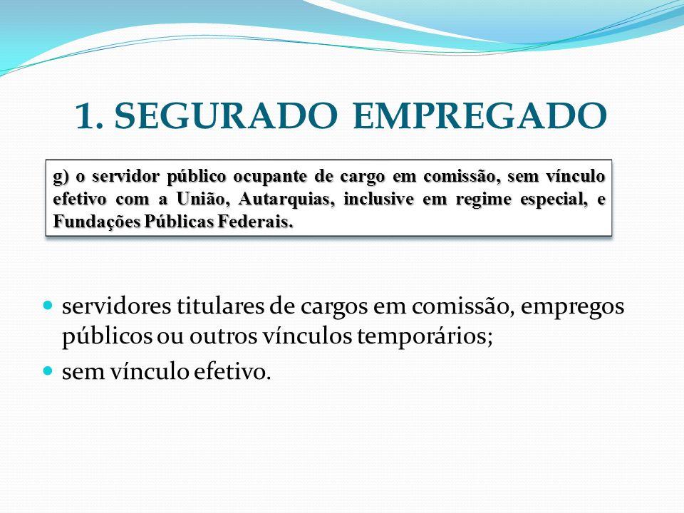 1. SEGURADO EMPREGADO servidores titulares de cargos em comissão, empregos públicos ou outros vínculos temporários; sem vínculo efetivo. g) o servidor