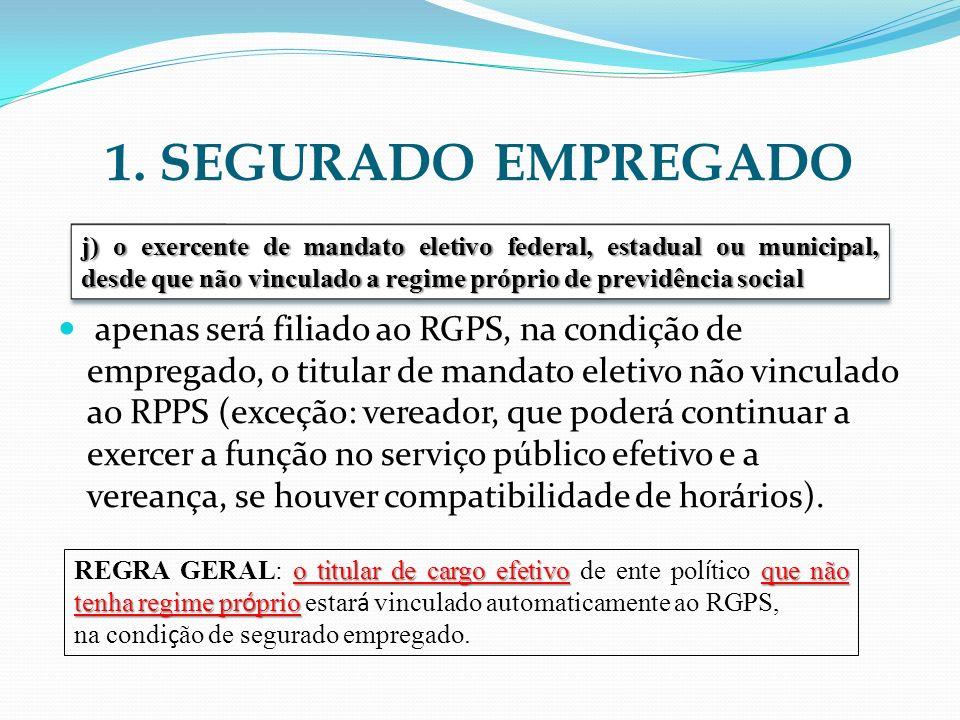 1. SEGURADO EMPREGADO apenas será filiado ao RGPS, na condição de empregado, o titular de mandato eletivo não vinculado ao RPPS (exceção: vereador, qu