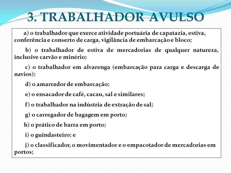 3. TRABALHADOR AVULSO a) o trabalhador que exerce atividade portuária de capatazia, estiva, conferência e conserto de carga, vigilância de embarcação