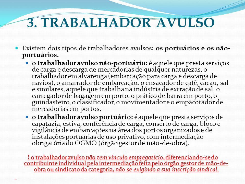 3. TRABALHADOR AVULSO Existem dois tipos de trabalhadores avulsos: os portuários e os não- portuários. o trabalhador avulso não-portuário: é aquele qu