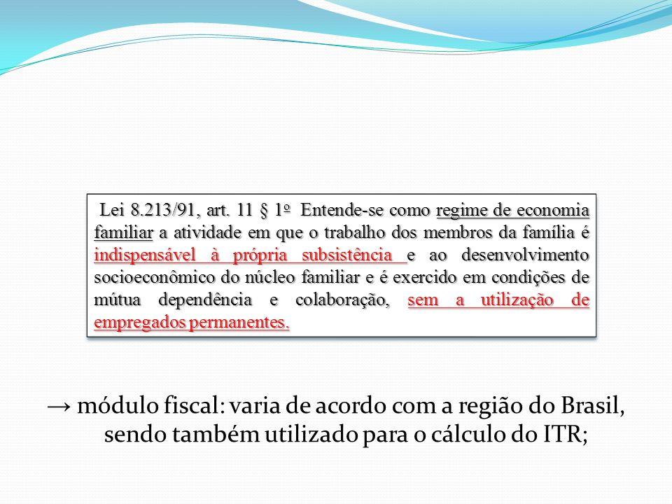 módulo fiscal: varia de acordo com a região do Brasil, sendo também utilizado para o cálculo do ITR; Lei 8.213/91, art. 11 § 1 o Entende-se como regim
