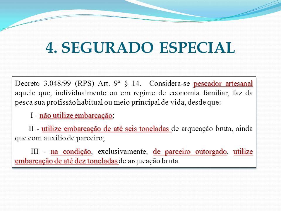 4. SEGURADO ESPECIAL pescador artesanal Decreto 3.048/99 (RPS) Art. 9º § 14. Considera-se pescador artesanal aquele que, individualmente ou em regime