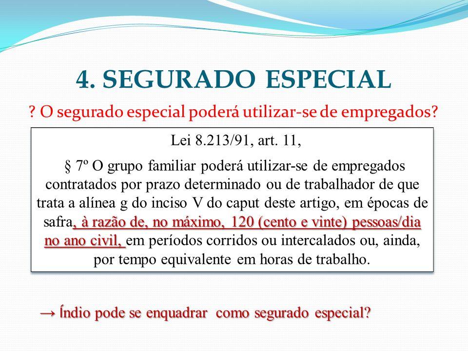 4. SEGURADO ESPECIAL ? O segurado especial poderá utilizar-se de empregados? Lei 8.213/91, art. 11,, à razão de, no máximo, 120 (cento e vinte) pessoa