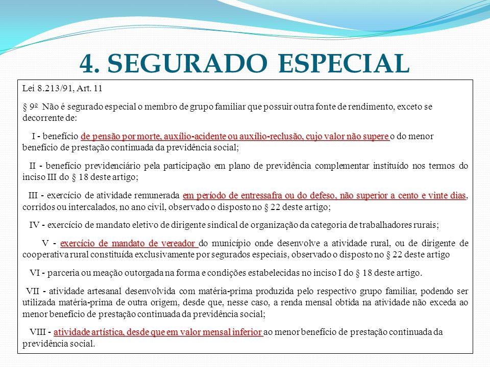 4. SEGURADO ESPECIAL Lei 8.213/91, Art. 11 § 9 o Não é segurado especial o membro de grupo familiar que possuir outra fonte de rendimento, exceto se d