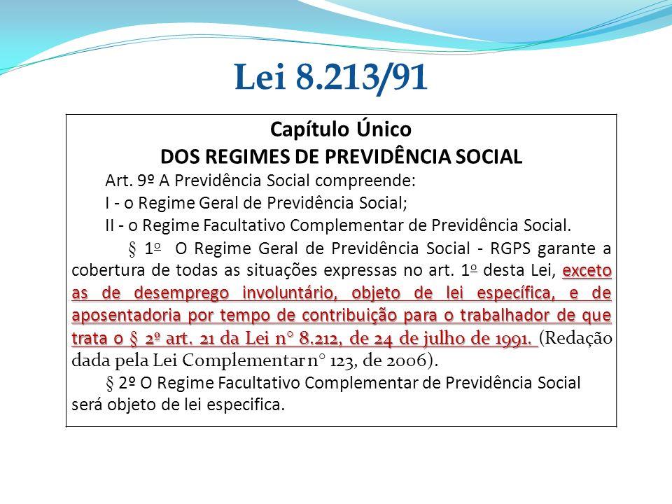 Lei 8.213/91 Capítulo Único DOS REGIMES DE PREVIDÊNCIA SOCIAL Art. 9º A Previdência Social compreende: I - o Regime Geral de Previdência Social; II -