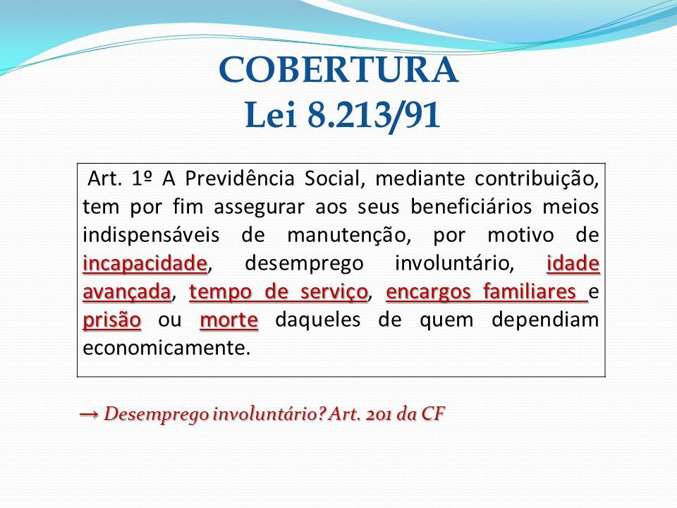 COBERTURA Lei 8.213/91 incapacidadeidade avançadatempo de serviçoencargos familiares prisãomorte Art. 1º A Previdência Social, mediante contribuição,
