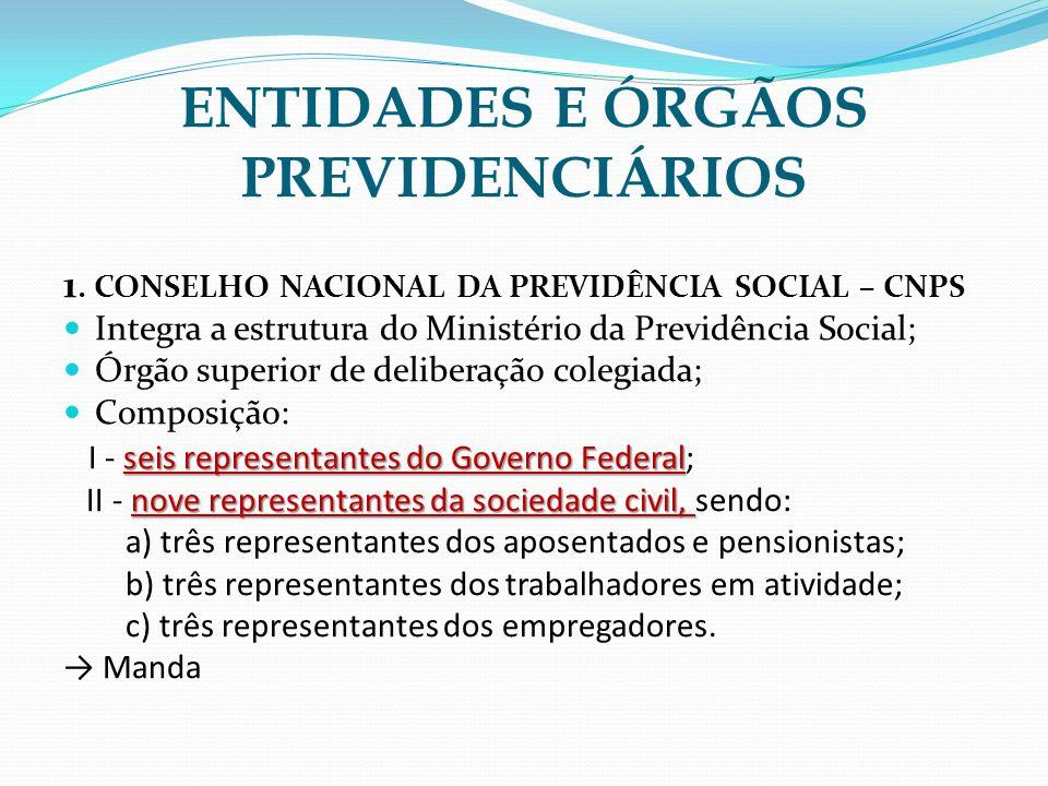 1. CONSELHO NACIONAL DA PREVIDÊNCIA SOCIAL – CNPS Integra a estrutura do Ministério da Previdência Social; Órgão superior de deliberação colegiada; Co