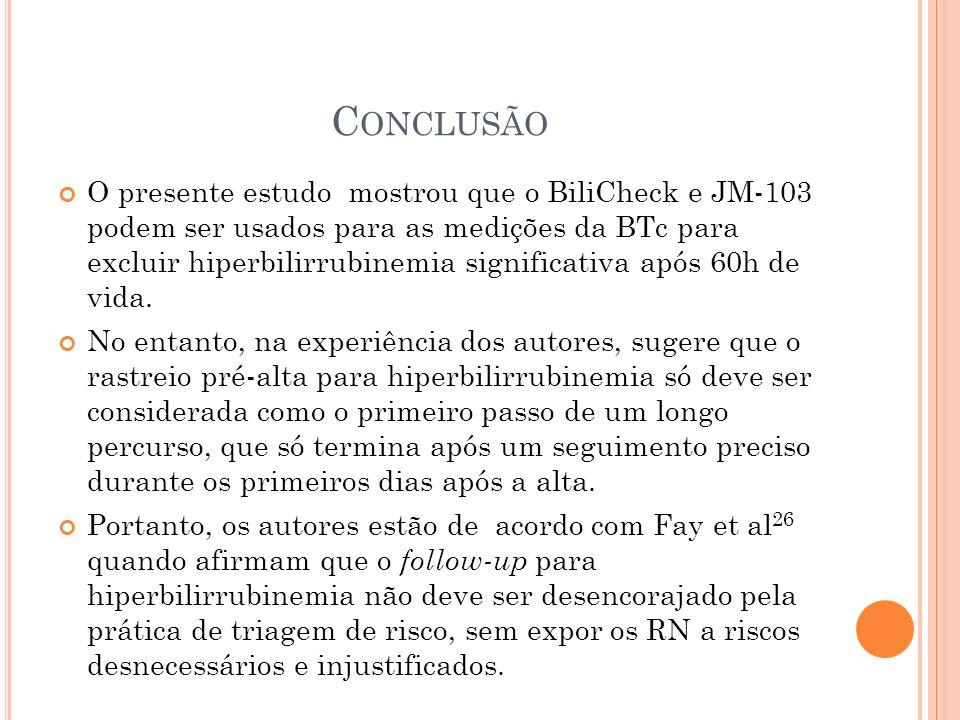 C ONCLUSÃO O presente estudo mostrou que o BiliCheck e JM-103 podem ser usados para as medições da BTc para excluir hiperbilirrubinemia significativa
