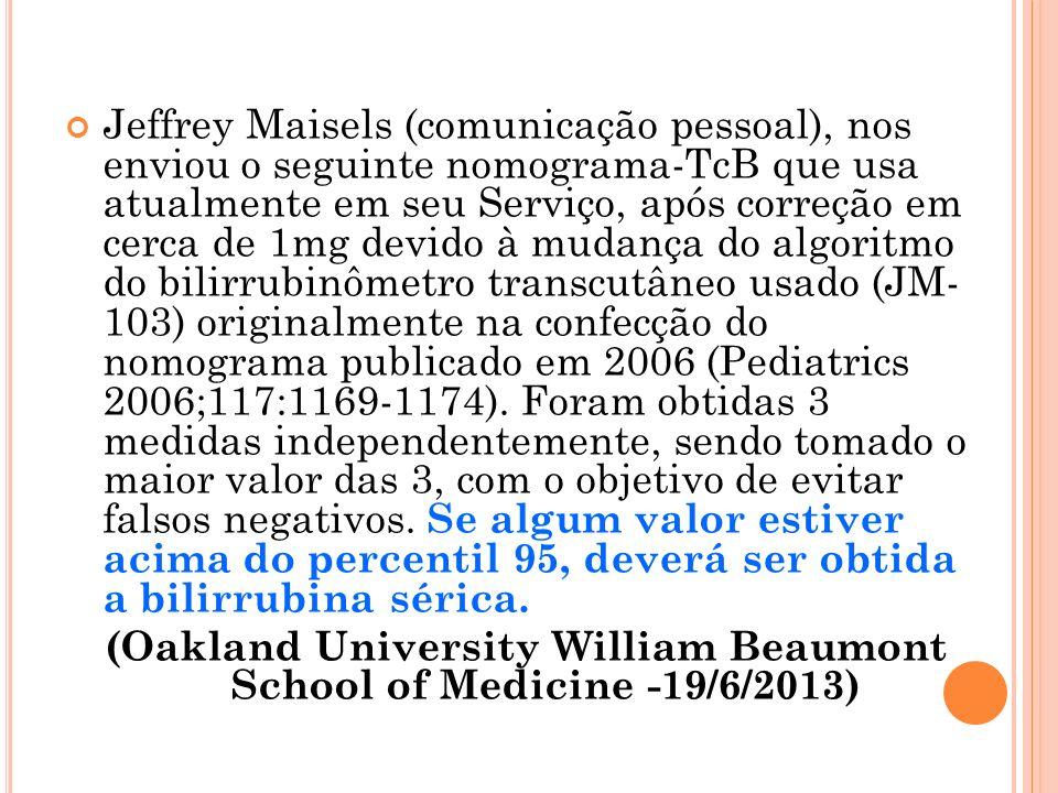 Jeffrey Maisels (comunicação pessoal), nos enviou o seguinte nomograma-TcB que usa atualmente em seu Serviço, após correção em cerca de 1mg devido à mudança do algoritmo do bilirrubinômetro transcutâneo usado (JM- 103) originalmente na confecção do nomograma publicado em 2006 (Pediatrics 2006;117:1169-1174).
