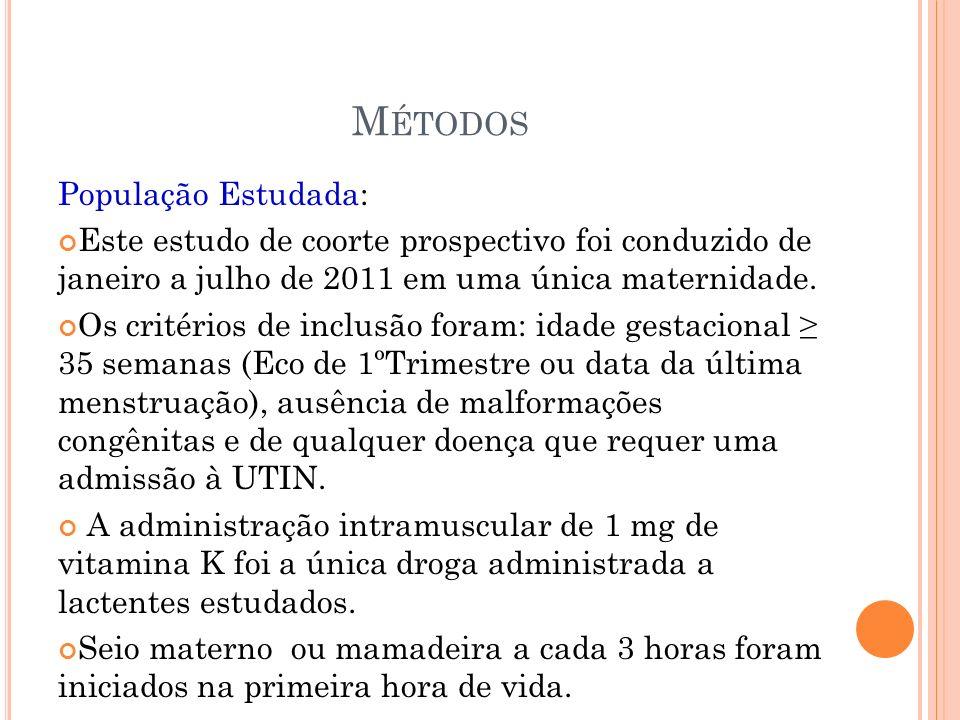 M ÉTODOS População Estudada: Este estudo de coorte prospectivo foi conduzido de janeiro a julho de 2011 em uma única maternidade. Os critérios de incl