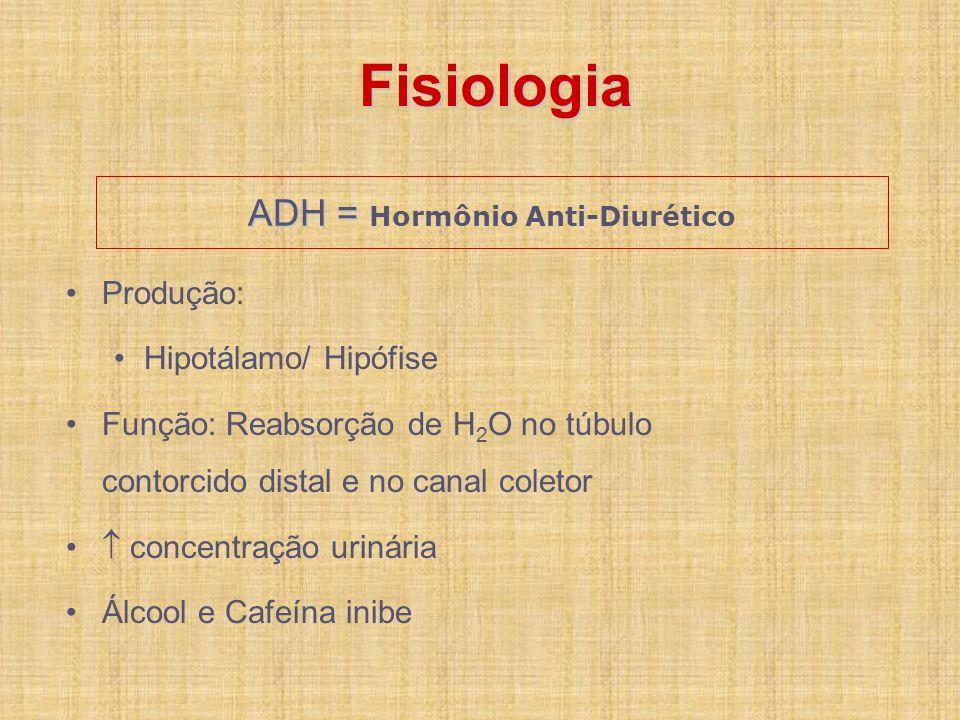 ADH = ADH = Hormônio Anti-Diurético Produção: Hipotálamo/ Hipófise Função: Reabsorção de H 2 O no túbulo contorcido distal e no canal coletor concentr