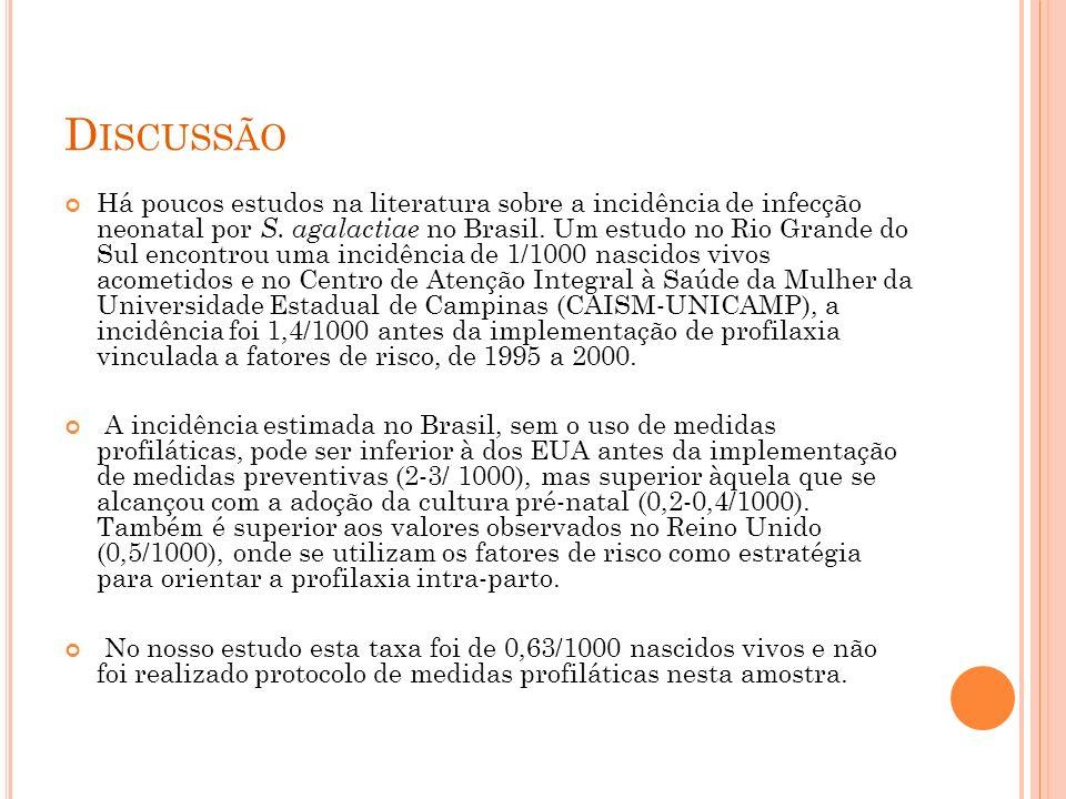 D ISCUSSÃO Há poucos estudos na literatura sobre a incidência de infecção neonatal por S.