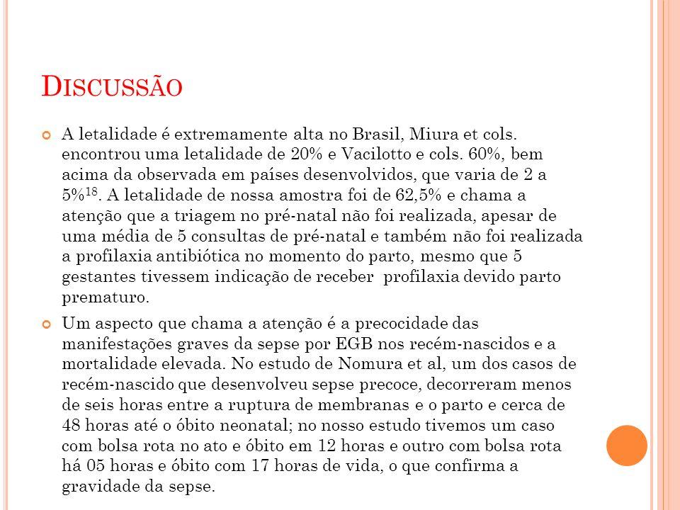 D ISCUSSÃO A letalidade é extremamente alta no Brasil, Miura et cols.