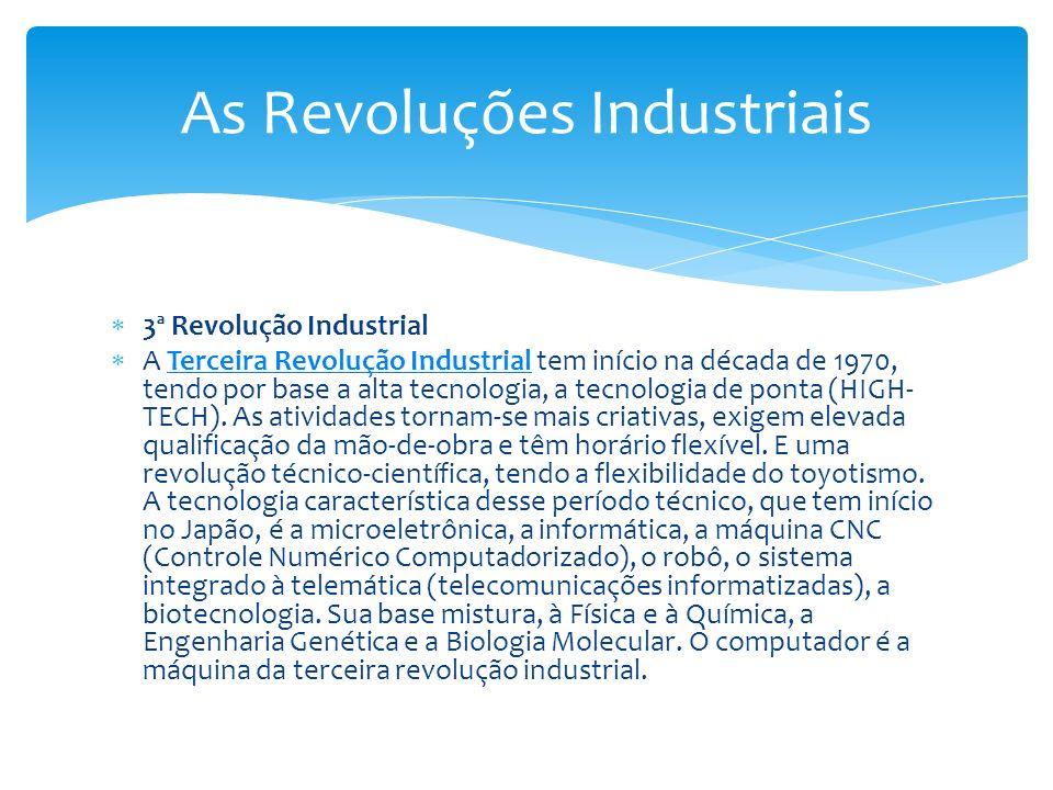 3ª Revolução Industrial A Terceira Revolução Industrial tem início na década de 1970, tendo por base a alta tecnologia, a tecnologia de ponta (HIGH- T