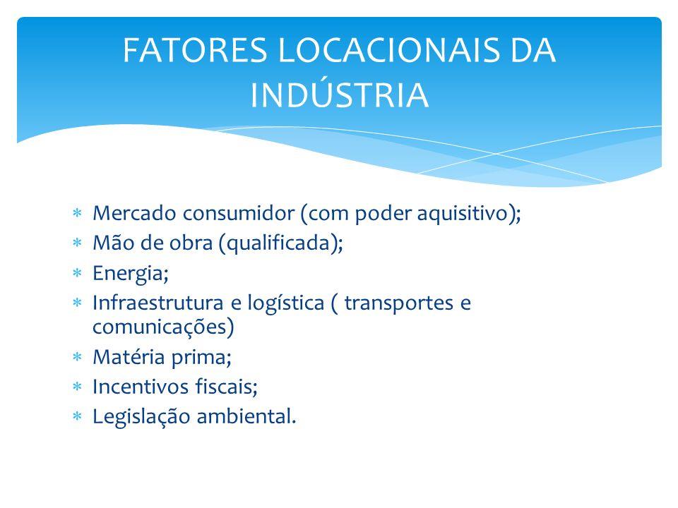 Mercado consumidor (com poder aquisitivo); Mão de obra (qualificada); Energia; Infraestrutura e logística ( transportes e comunicações) Matéria prima;