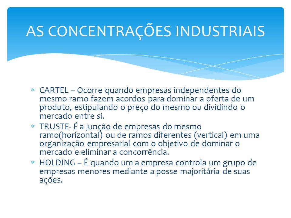 CARTEL – Ocorre quando empresas independentes do mesmo ramo fazem acordos para dominar a oferta de um produto, estipulando o preço do mesmo ou dividin