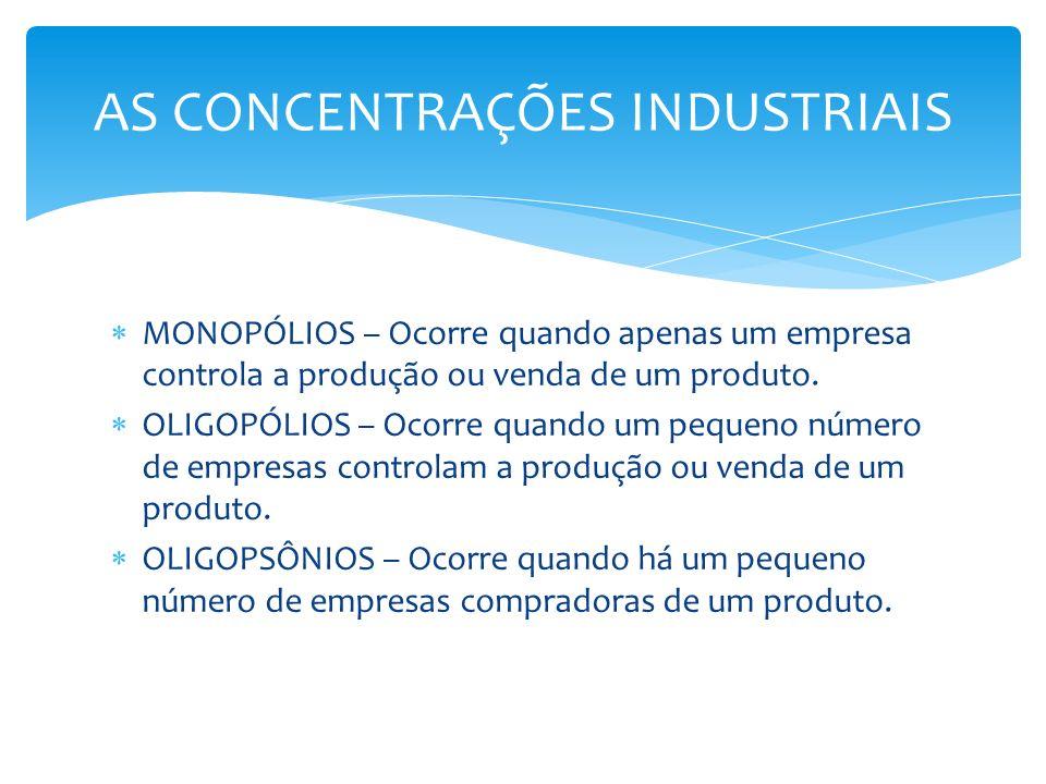 MONOPÓLIOS – Ocorre quando apenas um empresa controla a produção ou venda de um produto. OLIGOPÓLIOS – Ocorre quando um pequeno número de empresas con