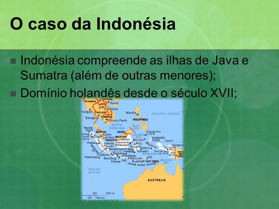 O caso da Indonésia Indonésia compreende as ilhas de Java e Sumatra (além de outras menores); Domínio holandês desde o século XVII;