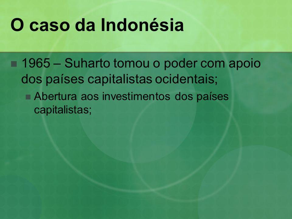O caso da Indonésia 1965 – Suharto tomou o poder com apoio dos países capitalistas ocidentais; Abertura aos investimentos dos países capitalistas;