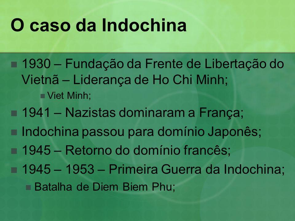 O caso da Indochina 1930 – Fundação da Frente de Libertação do Vietnã – Liderança de Ho Chi Minh; Viet Minh; 1941 – Nazistas dominaram a França; Indochina passou para domínio Japonês; 1945 – Retorno do domínio francês; 1945 – 1953 – Primeira Guerra da Indochina; Batalha de Diem Biem Phu;