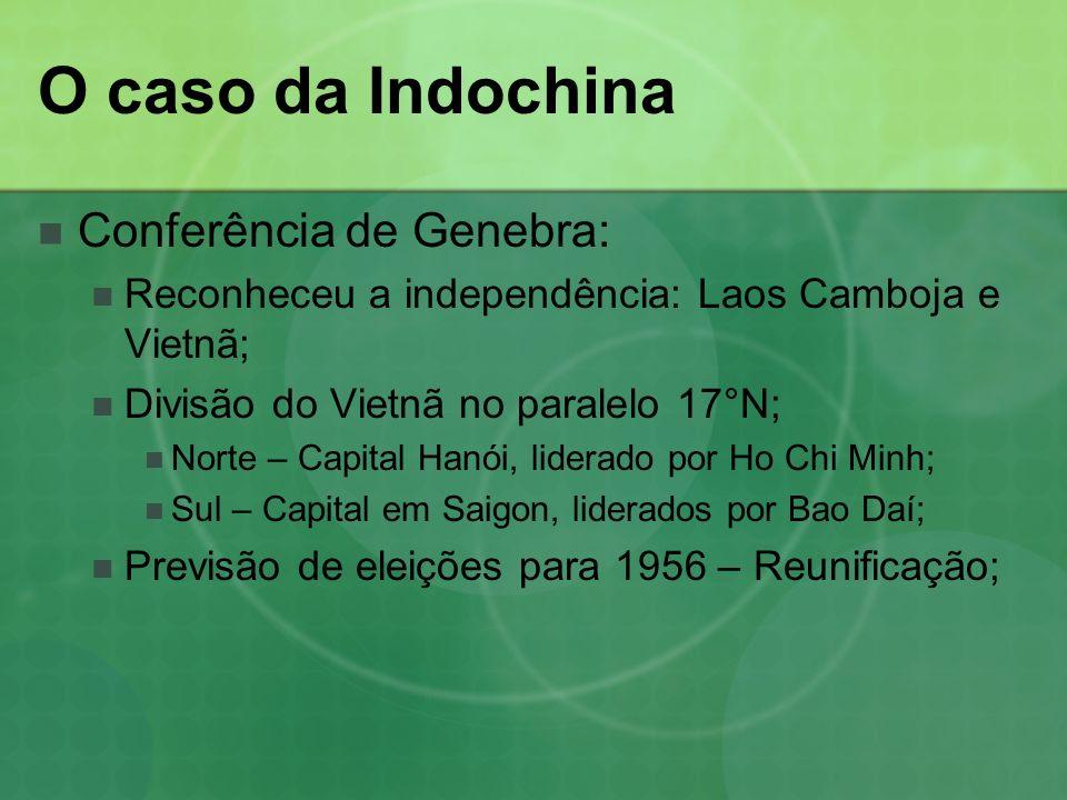 O caso da Indochina Conferência de Genebra: Reconheceu a independência: Laos Camboja e Vietnã; Divisão do Vietnã no paralelo 17°N; Norte – Capital Hanói, liderado por Ho Chi Minh; Sul – Capital em Saigon, liderados por Bao Daí; Previsão de eleições para 1956 – Reunificação;