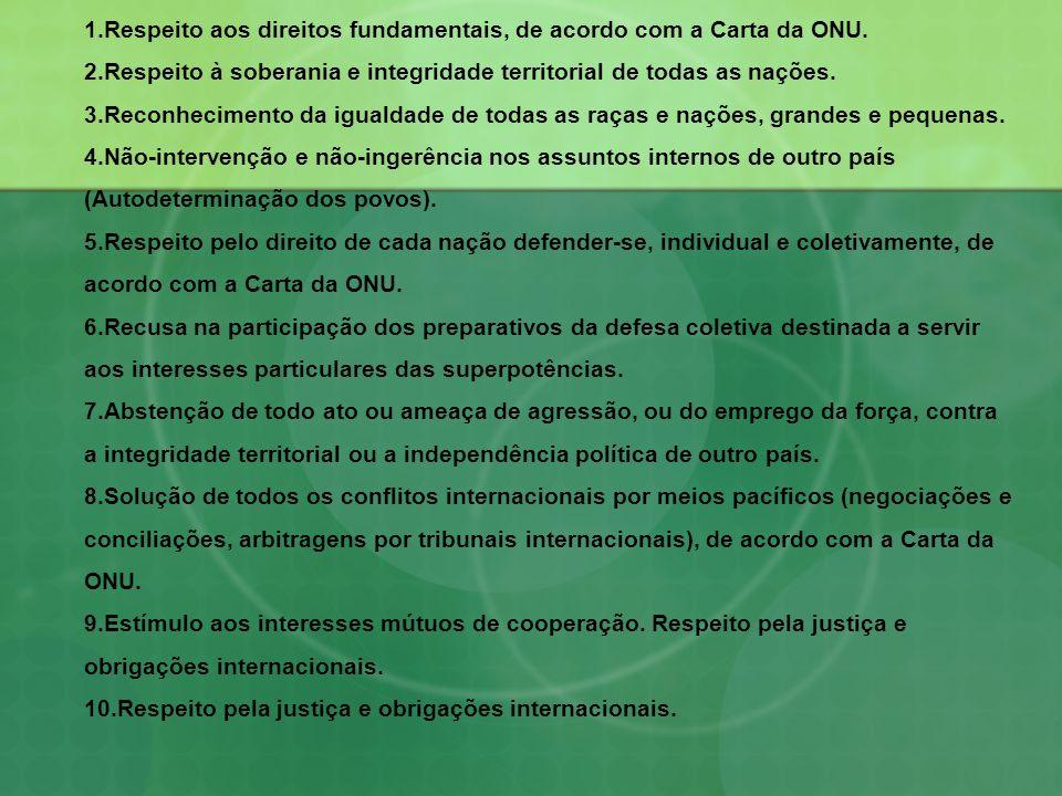 1.Respeito aos direitos fundamentais, de acordo com a Carta da ONU. 2.Respeito à soberania e integridade territorial de todas as nações. 3.Reconhecime