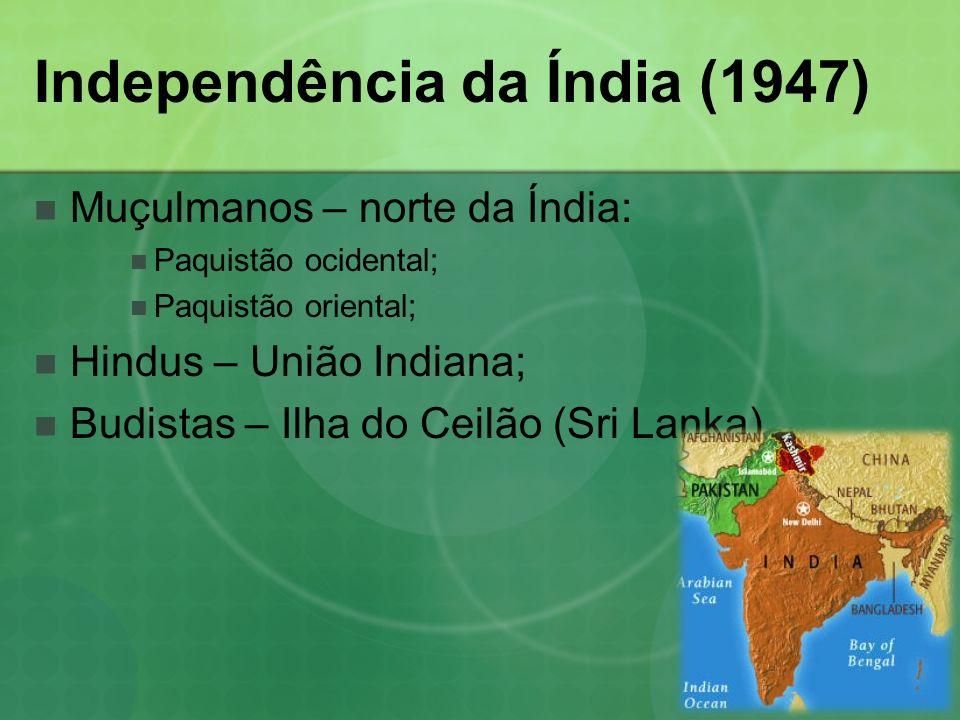 Independência da Índia (1947) Muçulmanos – norte da Índia: Paquistão ocidental; Paquistão oriental; Hindus – União Indiana; Budistas – Ilha do Ceilão