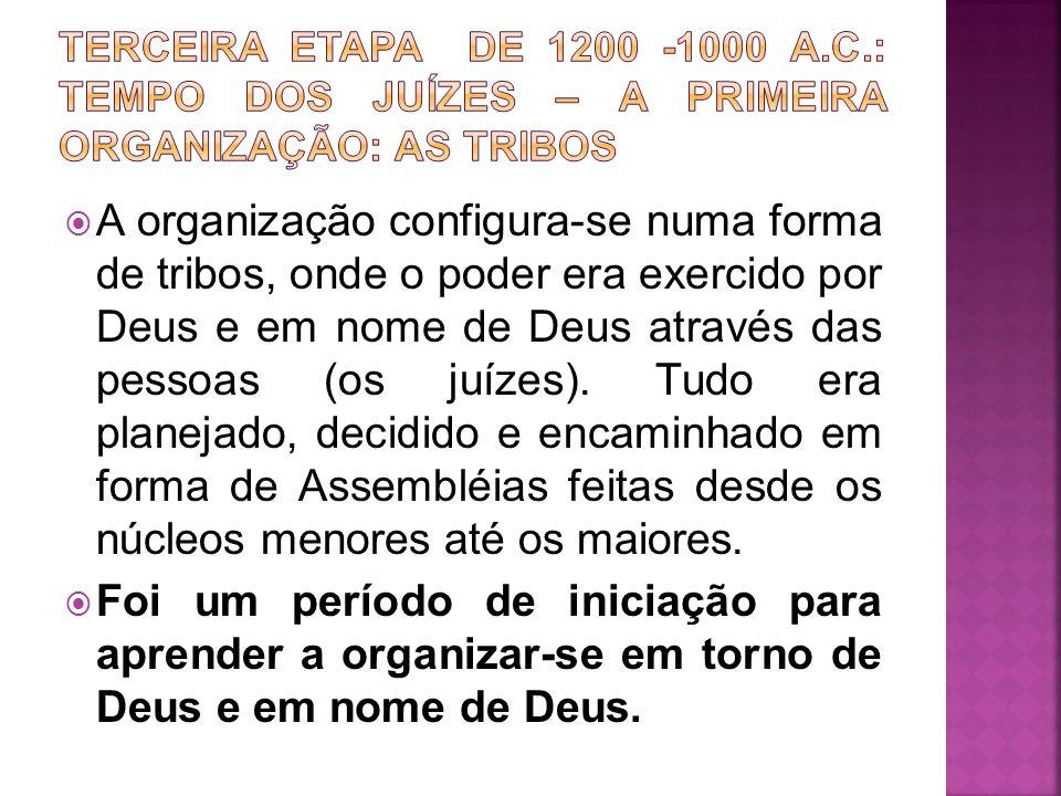 A organização configura-se numa forma de tribos, onde o poder era exercido por Deus e em nome de Deus através das pessoas (os juízes). Tudo era planej