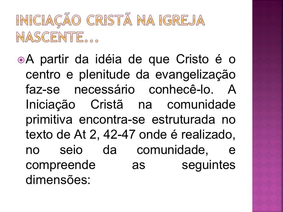 A partir da idéia de que Cristo é o centro e plenitude da evangelização faz-se necessário conhecê-lo. A Iniciação Cristã na comunidade primitiva encon