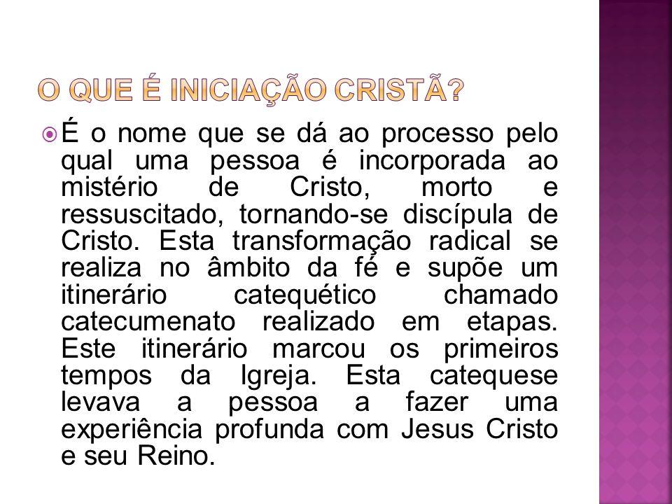 É o nome que se dá ao processo pelo qual uma pessoa é incorporada ao mistério de Cristo, morto e ressuscitado, tornando-se discípula de Cristo. Esta t