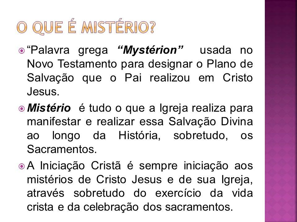 Palavra grega Mystérion usada no Novo Testamento para designar o Plano de Salvação que o Pai realizou em Cristo Jesus. Mistério é tudo o que a Igreja