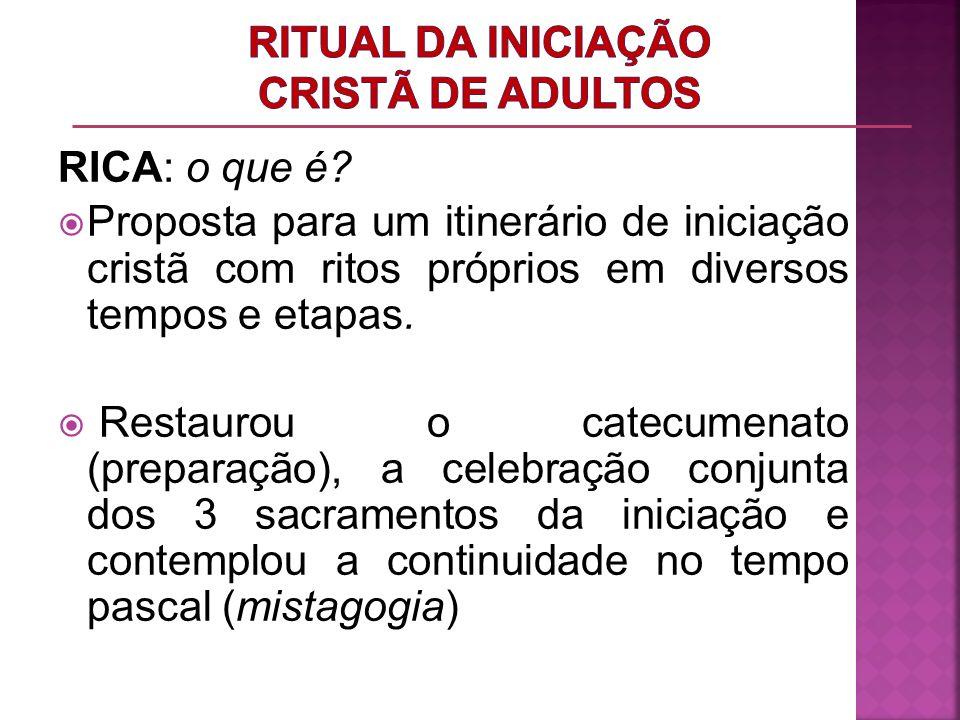 RICA: o que é? Proposta para um itinerário de iniciação cristã com ritos próprios em diversos tempos e etapas. Restaurou o catecumenato (preparação),