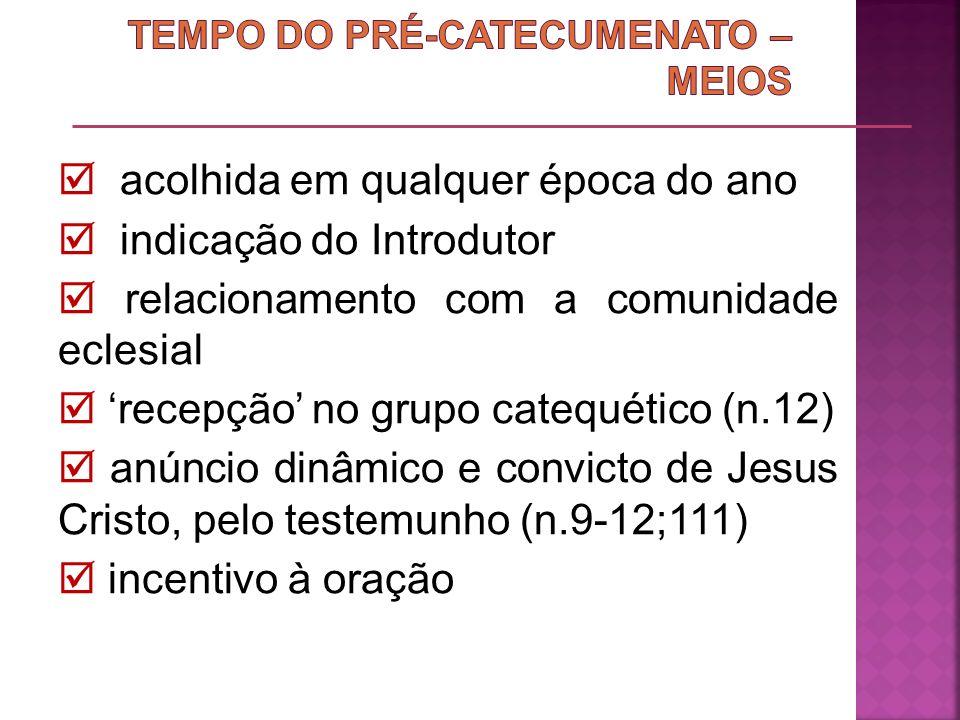 acolhida em qualquer época do ano indicação do Introdutor relacionamento com a comunidade eclesial recepção no grupo catequético (n.12) anúncio dinâmi