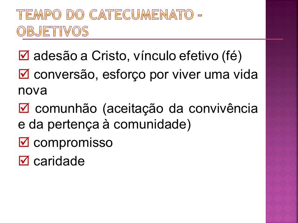 adesão a Cristo, vínculo efetivo (fé) conversão, esforço por viver uma vida nova comunhão (aceitação da convivência e da pertença à comunidade) compro